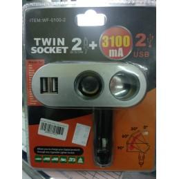 Twin Socket Cigarette Lighter + 2 Usb Port (WF-0100-2)
